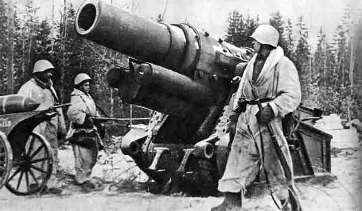 305-mm mortar M16, from which the shelling of Leningrad