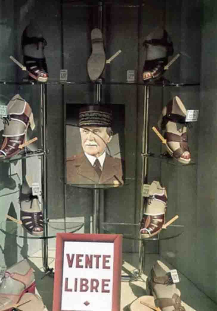 Showcase with a portrait of Marshal Henri Philippe Petain