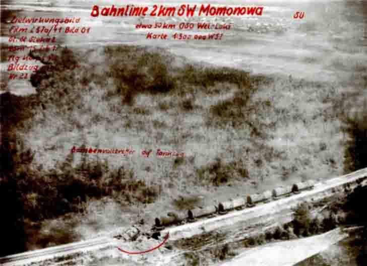 Aerial photography of an air strike by dive-bombers to the locomotive
