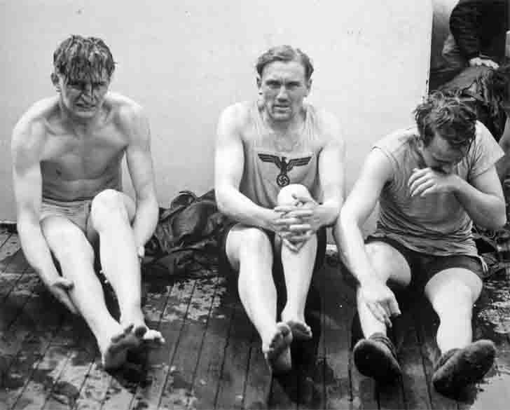 Captured sailors from sunken U-175 submarine on the deck of the USCGC Spencer