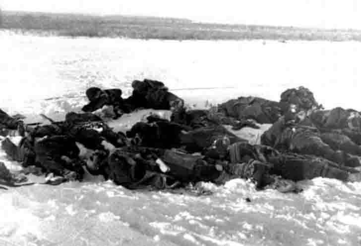 The bodies of Red Army soldiers who were executed by the Nazis
