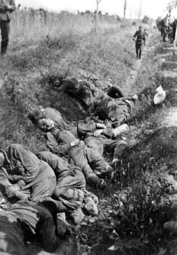 Executed soldiers of the Red Army in the road ditch