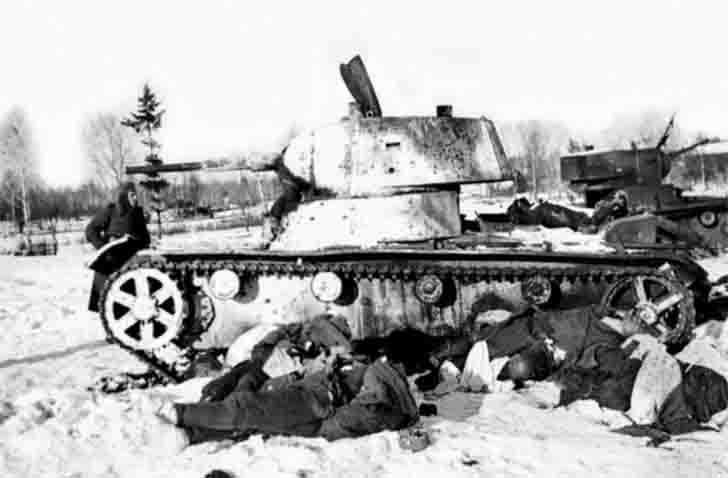 Destroyed T-26 tanks and killed soldiers of the Red Army