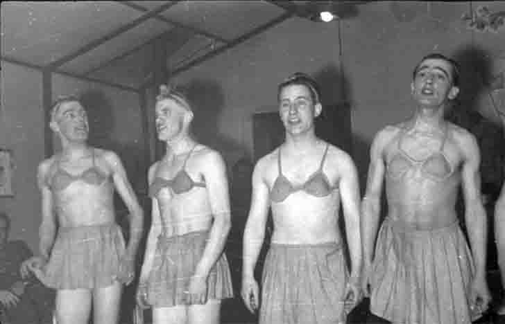 The soldiers of the Wehrmacht in the women's underwear