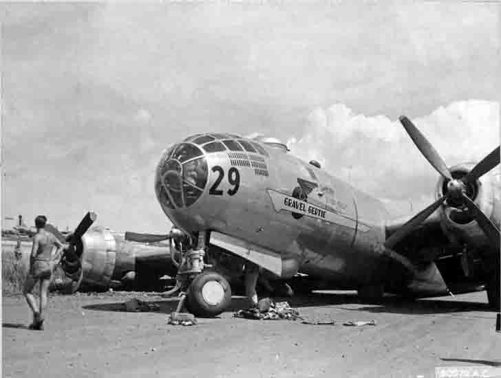 B-29 bomber Gravel Gertie after emergency landing