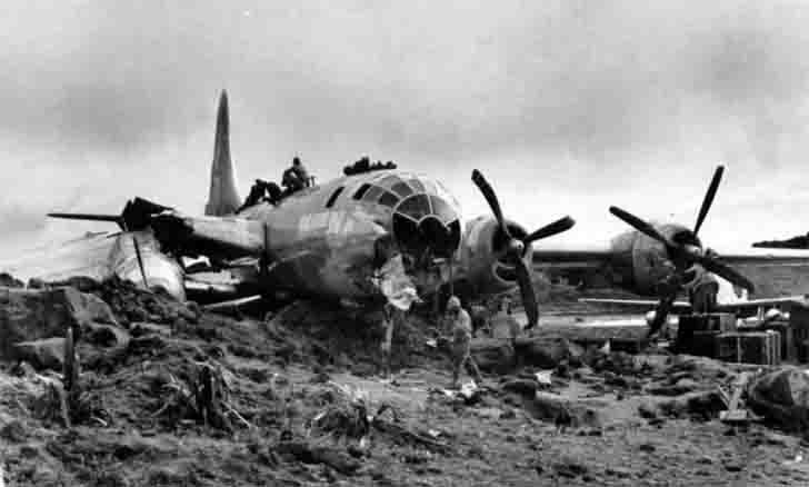 Bomber B-29s after the collapse on Iwo Jima