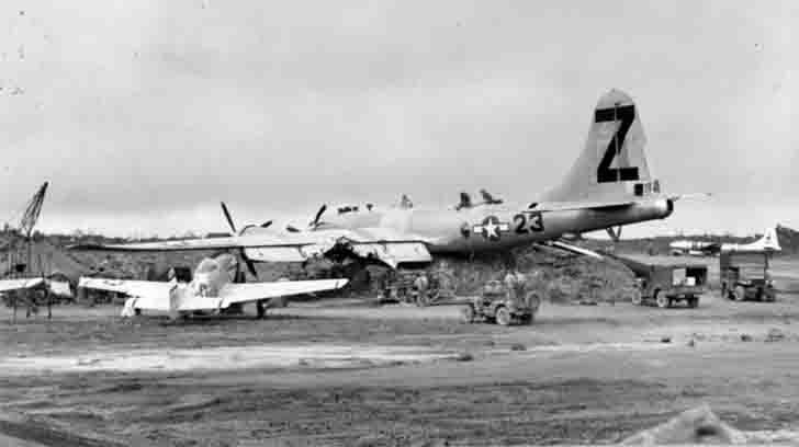 Boeing B-29 Ramblin Roscoe bomber after the crash on Iwo Jima