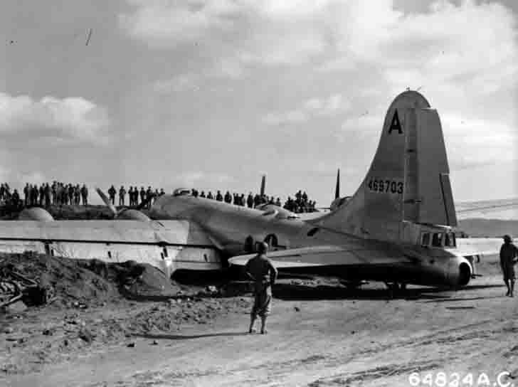 Bomber B-29-55-BW after the crash on the island of Iwo Jima
