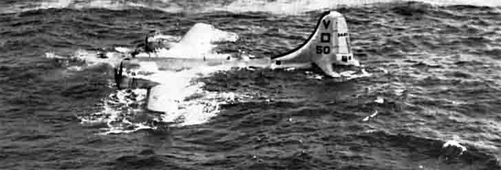 Bomber B-29 crashed into the ocean near Iwo Jima