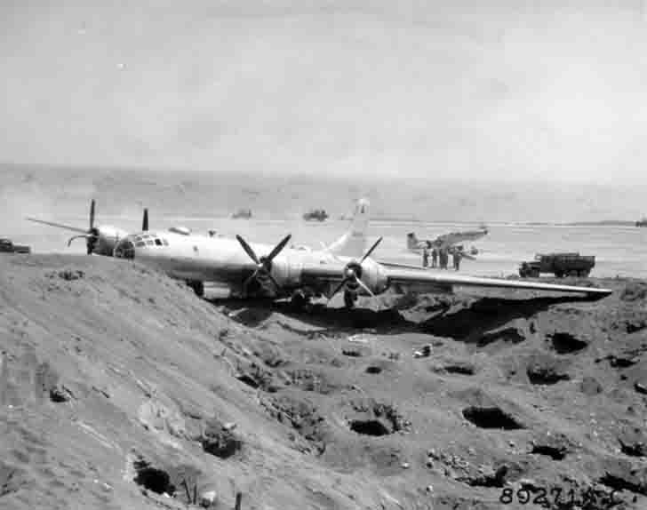 The wreckage of the B-29-55-BW bomber on the island of Iwo Jima