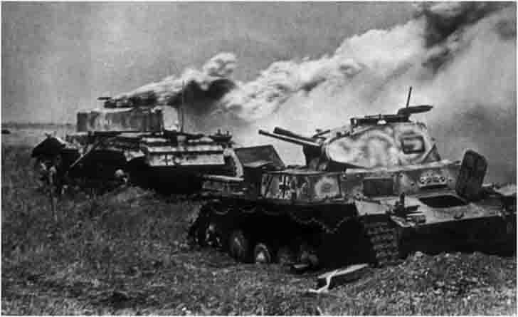 Destroyed German tanks Pz.III and Pz.II