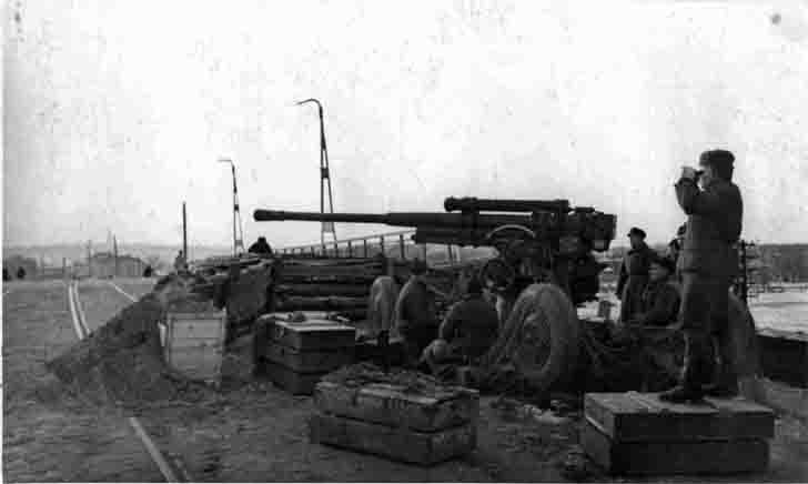 Soviet 85-mm 52-K anti-aircraft gun on the Proletarian bridge in Tula