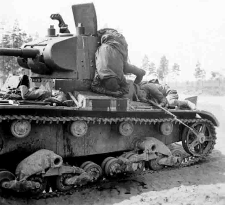 Destroyed T-26 tanks from the 42th Tank Division and the crew killed