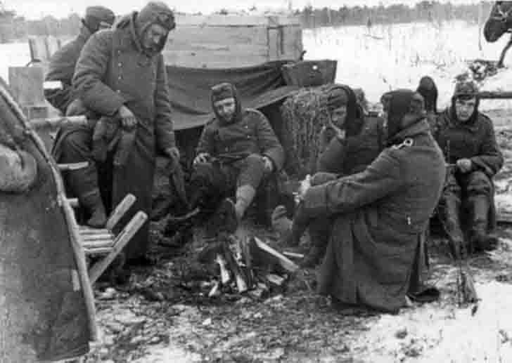 German prisoners of war around the campfire