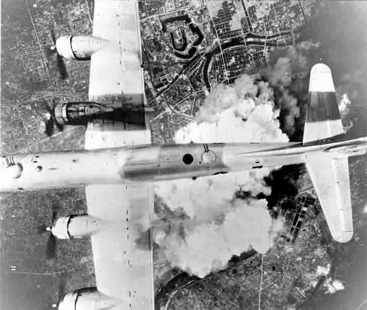«Killer of cities» Boeing B-29 «Incendiary Journey» during the carpet bombing