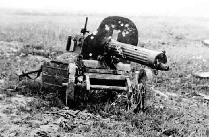 "Broken Soviet ""Maxim"" heavy machine gun"