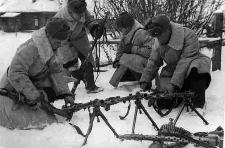 Captured German machine guns in the Battle of Moscow
