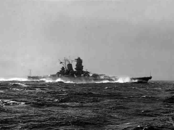 "Japanese ""Yamato"" battleship on sea trials"