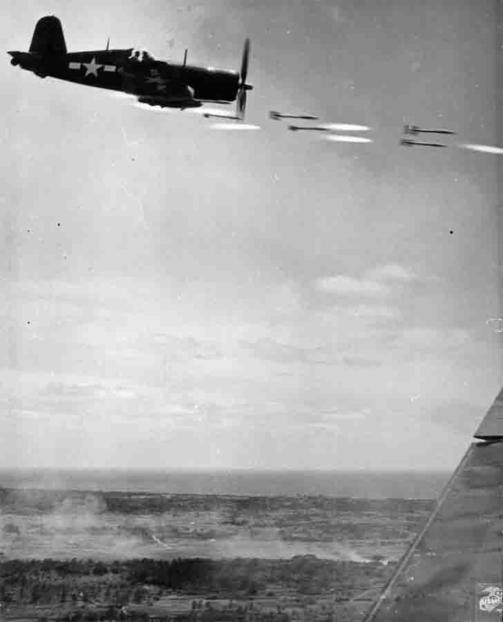 American Chance Vought F4U Corsair attack aircraft fired missiles to Okinawa