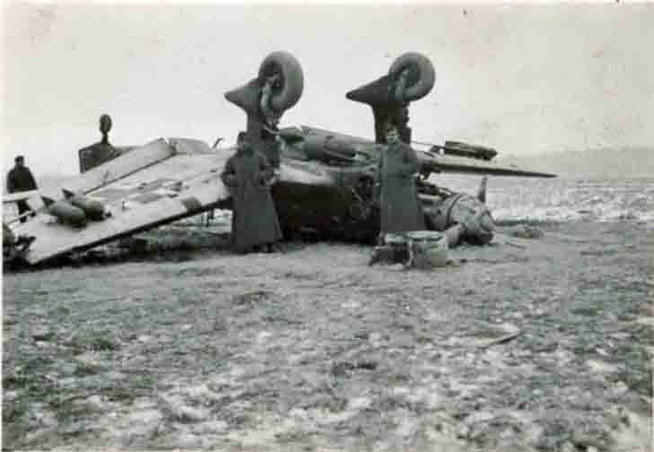 Turned over Junkers Ju-87 dive-bomber