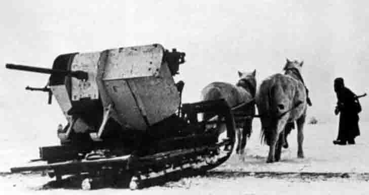 German 2 cm Flak antiaircraft gun on horse-drawn