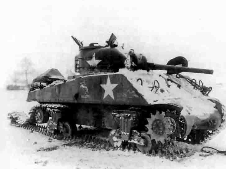 "Destroyed ""Sherman"" medium tank"