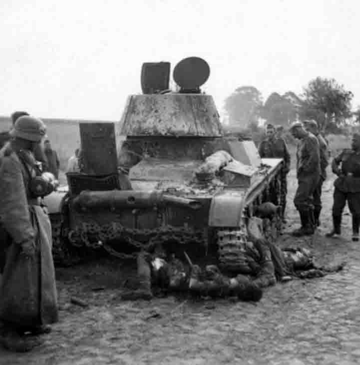 Destroyed T-26 and the bodies of his crew