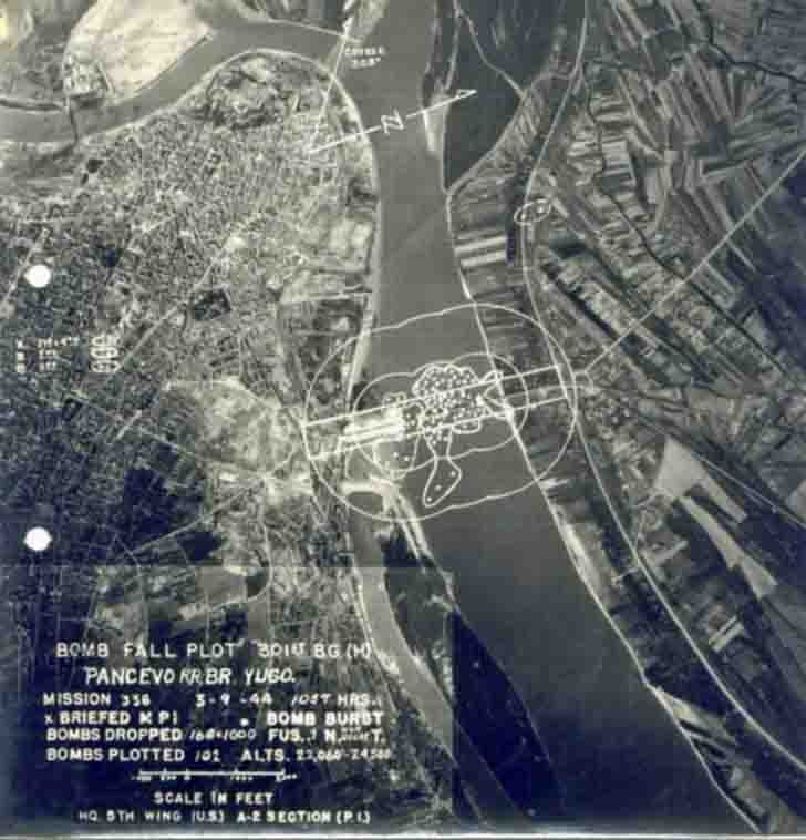 Aerial photography of the consequences of the bombing of Belgrade bridge