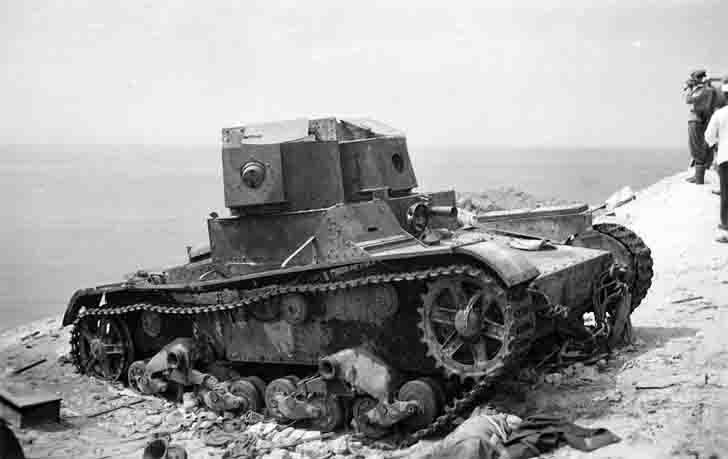 Destroyed two-turret T-26 light tank in Sevastopol