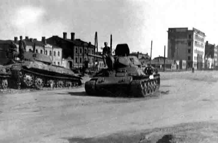 Two destroyed T-34 tank on the streets of Voronezh