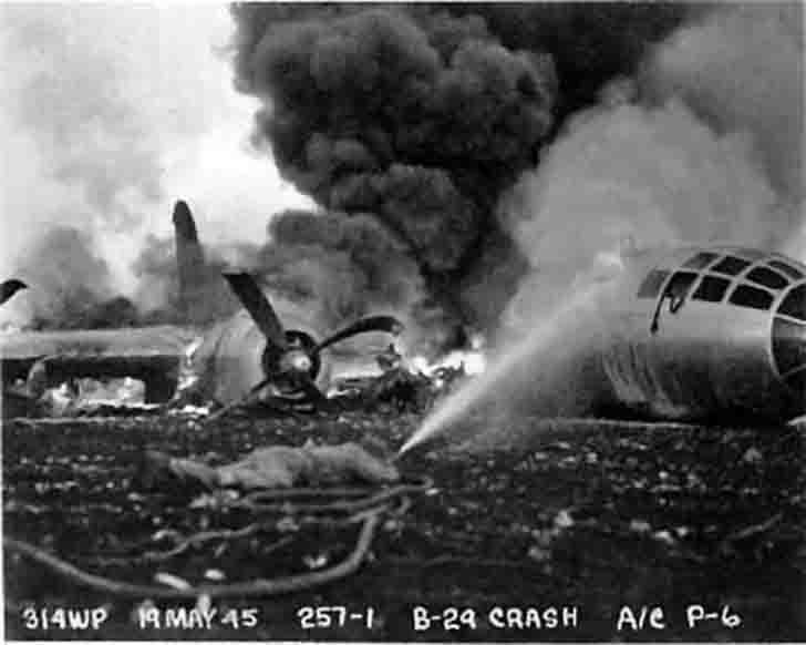 Bomber B-29 burning on the island of Guam