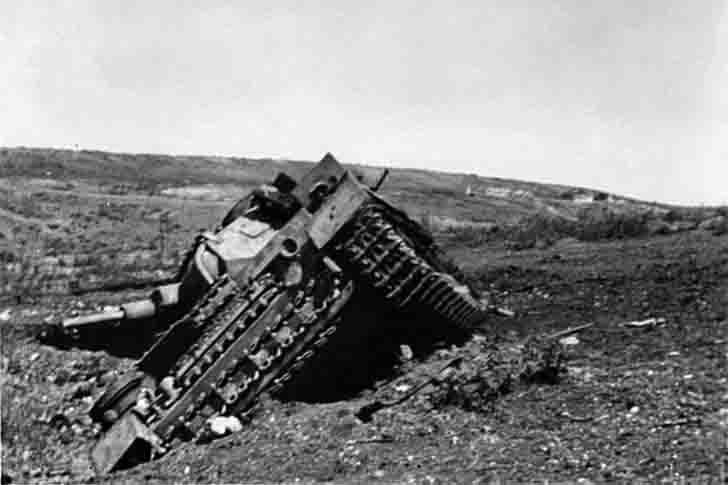 Destroyed PzKpfw III medium tank in Sevastopol