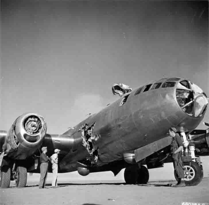 Bomber B-29 with a hole in the fuselage