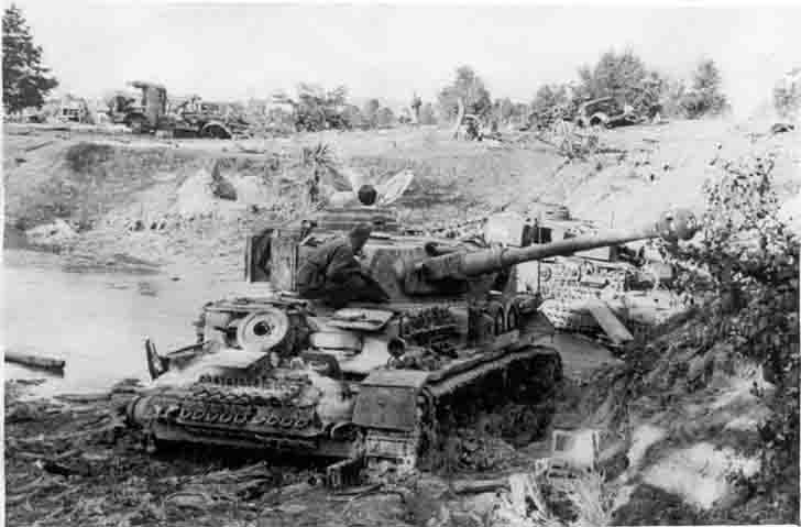 Destroyed column of German military vehicles