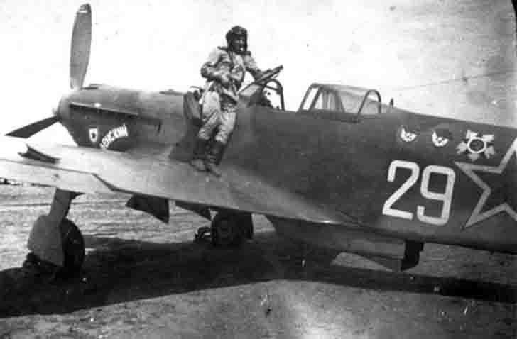 Soviet ace N. Kizim in the Yak-9 fighter in Bulgaria