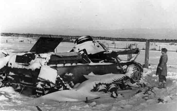 Destroyed the German PzKpfw IV medium tank in the snow