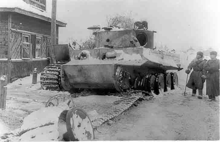 Pz.Kpfw.VI heavy tank and Soviet officers