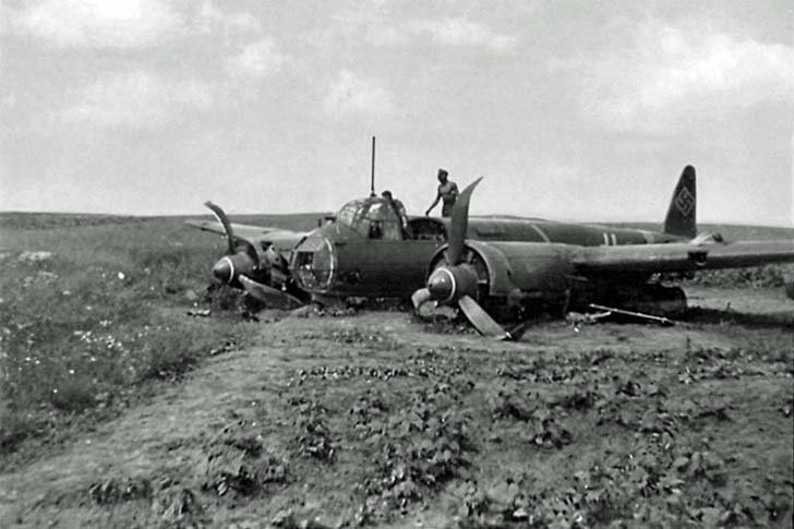Junkers Ju-88 bomber, which fell on the Russian vegetable garden