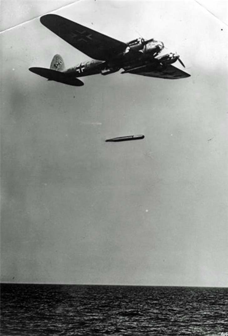 Torpedo attack of German Heinkel He-111 torpedo bomber