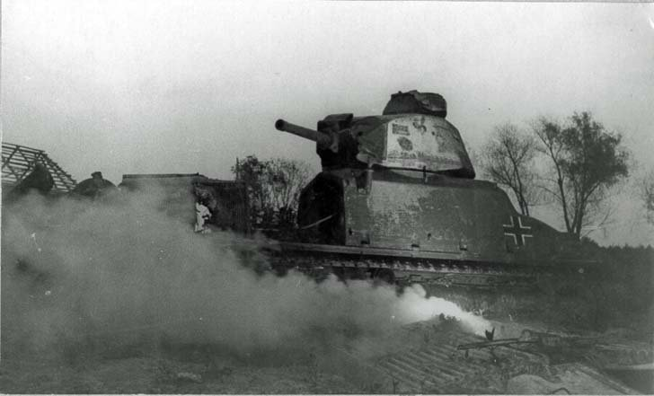Destroyed German Somua S35 medium tank