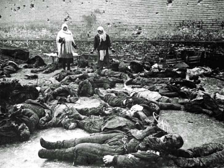 Murdered Russian civilians in the prison yard of Rostov-on-Don