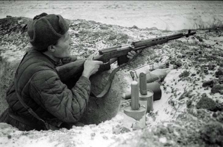Soviet infantryman in the Battle of Moscow
