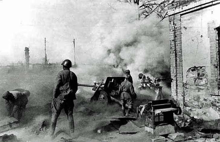 The Soviet gun ZIS-3 firing at the enemy