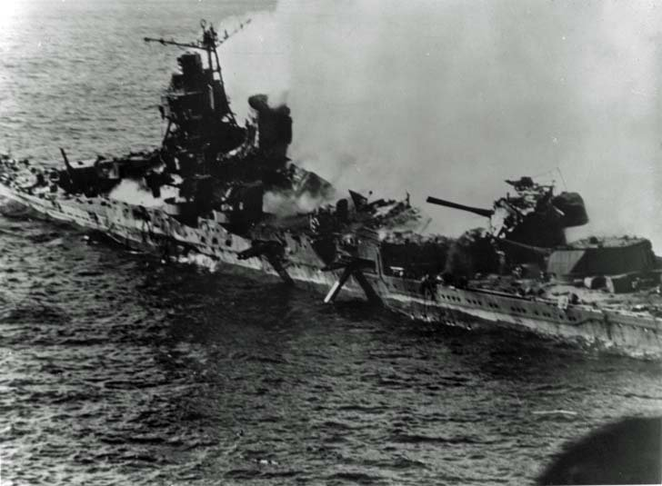 "Japanese cruiser ""Mikuma"" after a raid by US aircraft"