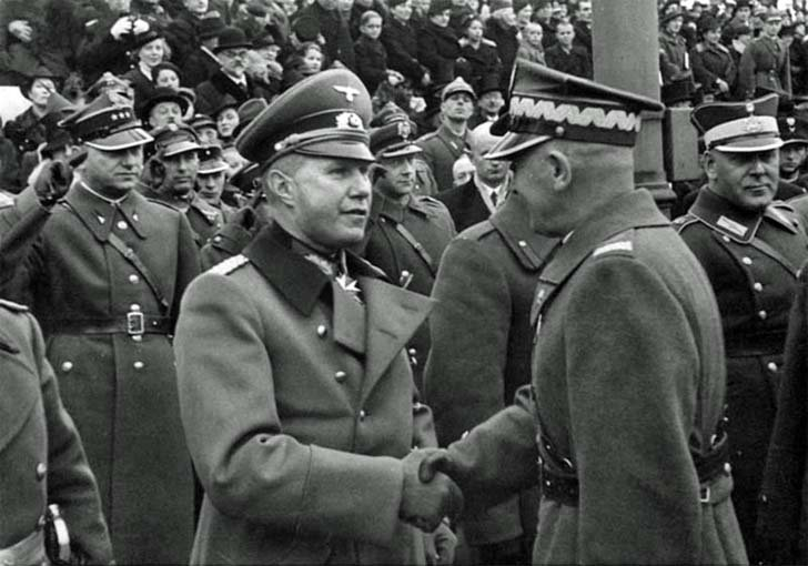 Polish Marshal Edward Rydz-Rydz and German Major General Bogislav von Studnitz