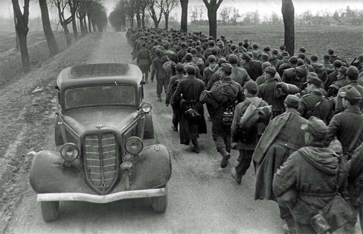 A column of German prisoners of war on the road in Eastern Europe
