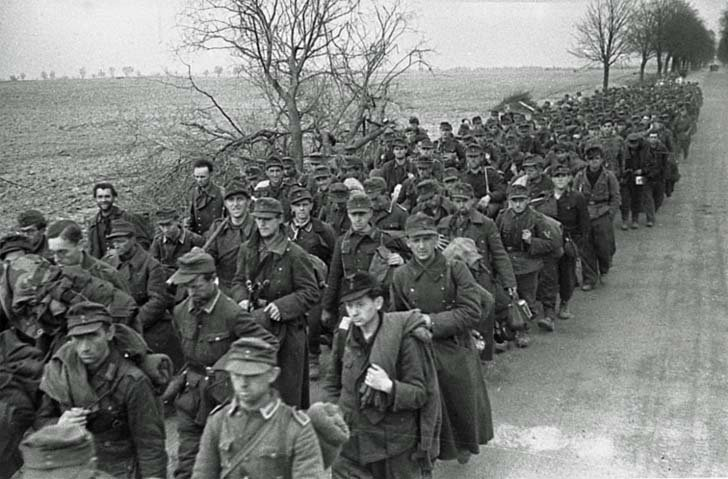 A huge column of German prisoners of war in Eastern Europe