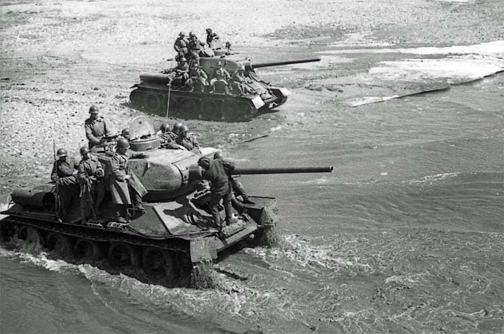 T-34 tanks on the bank of the river in Manchuria