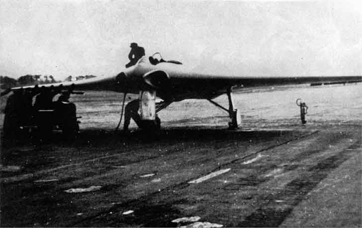 The aircraft Horten Ho IX made ready for a combat flight