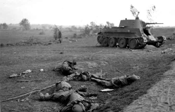 The corpses of Russian soldiers and destroyed BT light tank